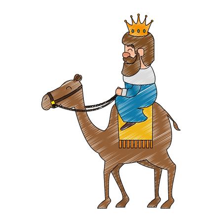 koning tovenaar in kameel avatar karakter vector illustratie ontwerp