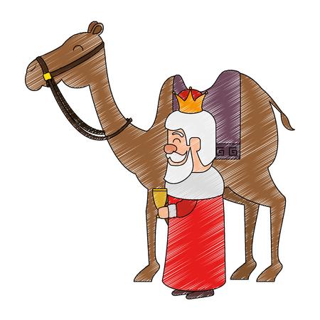 ラクダアバターキャラクターベクトルイラストデザインのキングウィザード