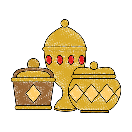 Goldbehälter und Kelchvektorillustrationsdesign Vektorgrafik