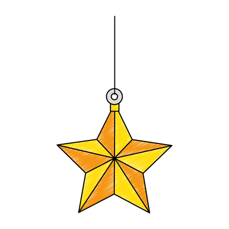 star hanging decorative icon vector illustration design