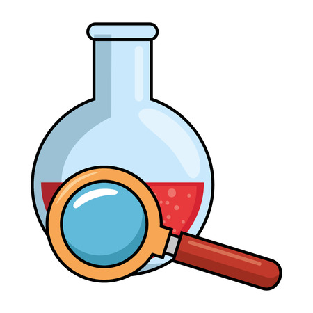 tube test with magnifying glass vector illustration design