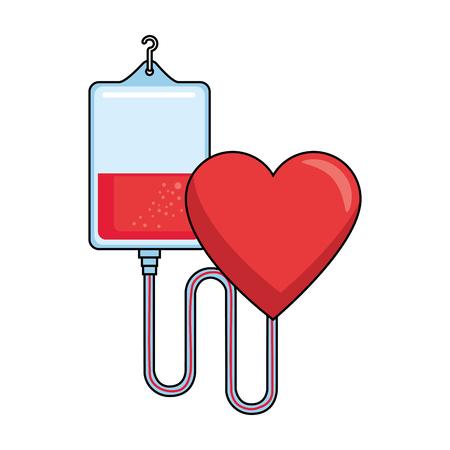 blood bag donation with heart vector illustration design