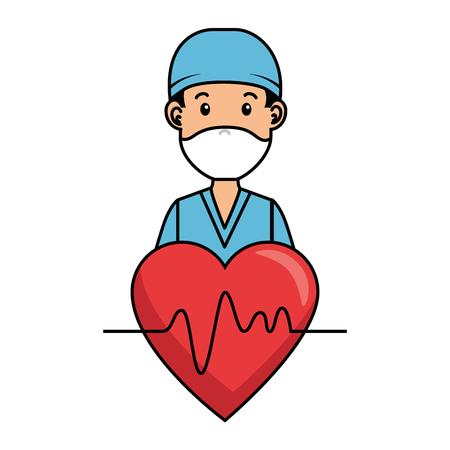 surgeon doctor with heart avatar character icon vector illustration design Illustration
