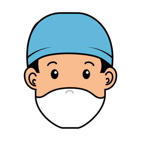 外科医医師頭部アバターキャラクターアイコンベクトルイラストデザイン