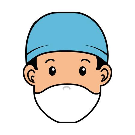 surgeon doctor head avatar character icon vector illustration design 向量圖像
