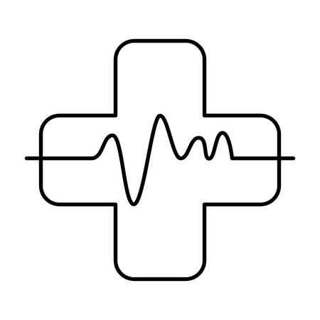 cross with pulse cardiac vector illustration design. Vectores