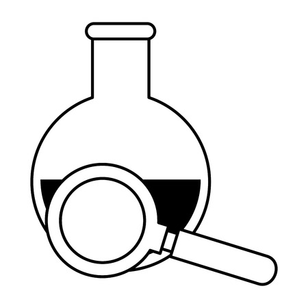 tube test with magnifying glass vector illustration design. Illustration