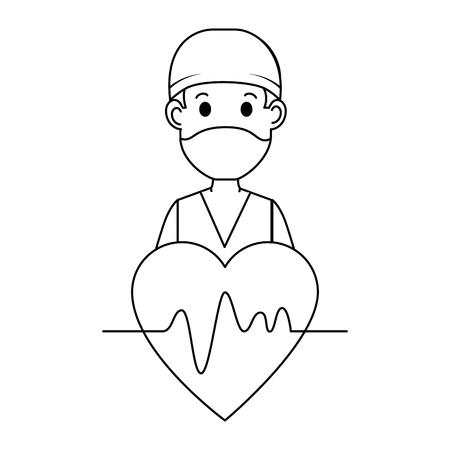 心臓アバターキャラクターアイコンベクトルイラストデザインの外科医医師。