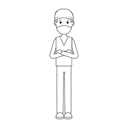 外科医医師アバターキャラクターアイコンベクトルイラストデザイン。