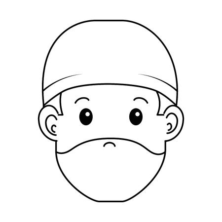 外科医医師ヘッドアバターキャラクターアイコンベクトルイラストデザイン。