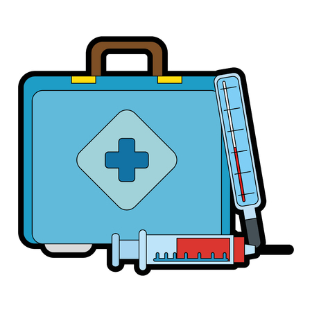 medical kit with thermometer and injection vector illustration design
