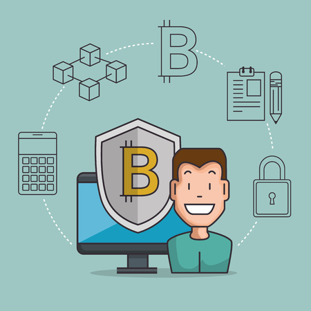 blockchain business set icons vector illustration design Imagens