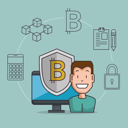 blockchain business set icons vector illustration design Stock Photo