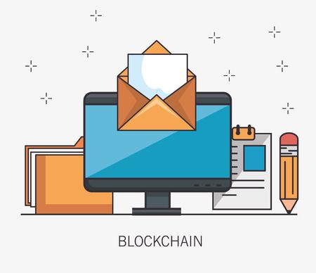 Blockchain business set ícones ilustração vetorial design Foto de archivo - 93755973