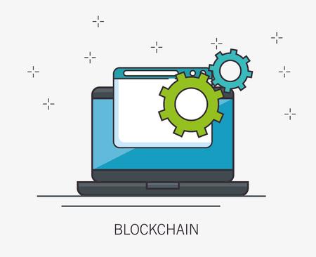Blockchain business set ícones ilustração vetorial design Foto de archivo - 93755987