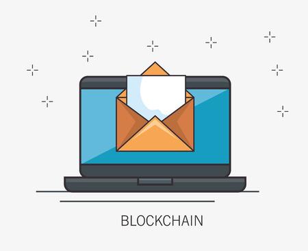 blockchain business set icons vector illustration design Ilustração