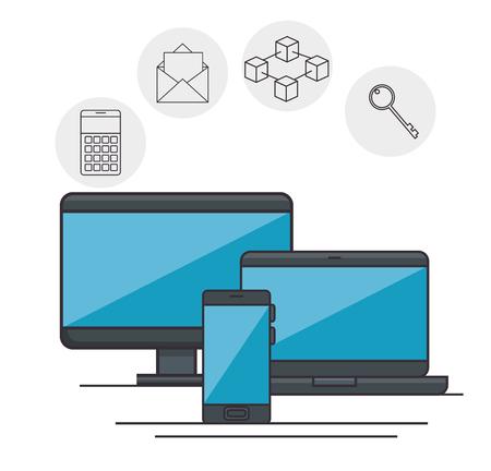 blockchain business set icons vector illustration design 向量圖像