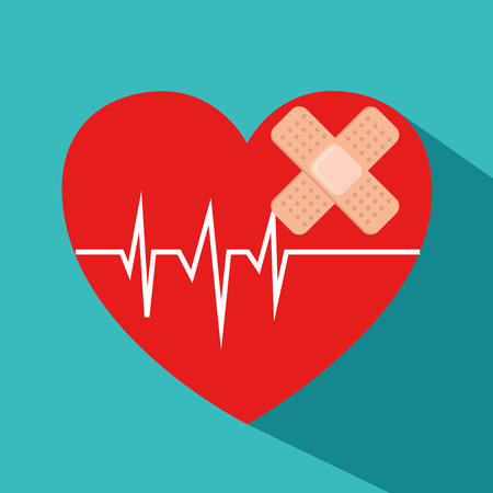 heart cardio with bandages vector illustration design
