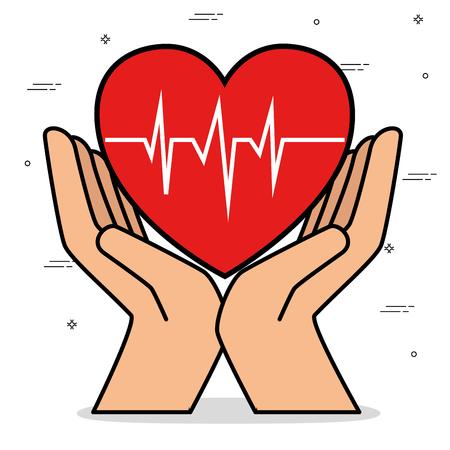 Mains avec coeur cardio isolé icône du design illustration vectorielle Banque d'images - 93736310