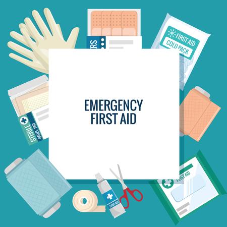 Primeiros socorros de emergência ícones vector design ilustração Foto de archivo - 93736315