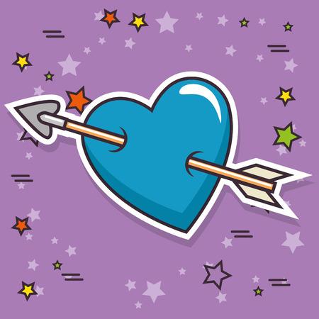 love cute pop art vector illustration design