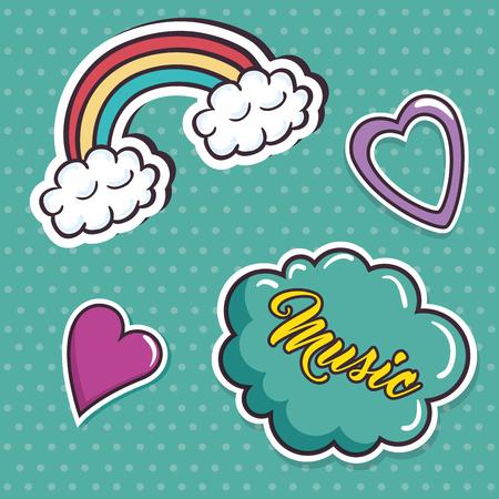 Love cute pop art vector illustration design.