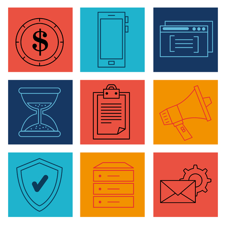Erfolg Business Set Icons Vektor-Illustration Design Standard-Bild - 93736429