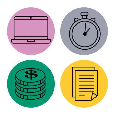 success business set icons vector illustration design