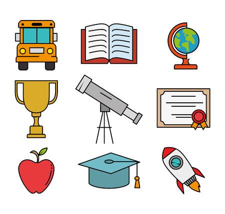 教育学校セットアイコンベクトルイラストデザイン  イラスト・ベクター素材