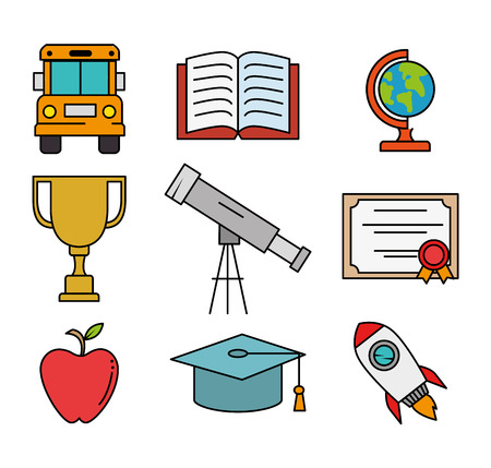 education school set icons vector illustration design