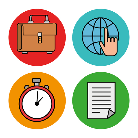 Education school set icons in multicolored circle. Vector illustration design. Çizim
