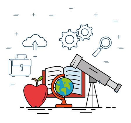 교육 학교 아이콘 벡터 일러스트 디자인 설정 일러스트