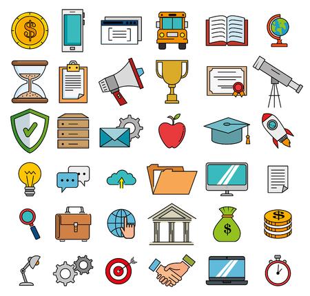 education school set icons vector illustration design