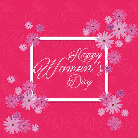 happy womens day celebration postcard vector illustration design