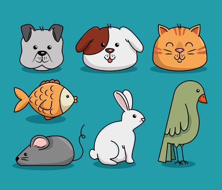 グループマスコット ペットショップベクトルイラストデザイン