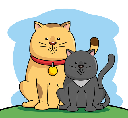 A group mascots pet shop vector illustration design Çizim