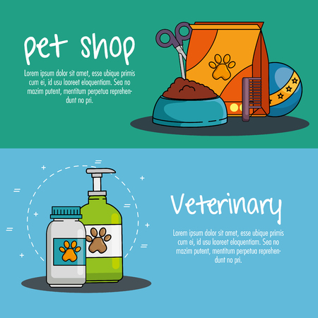 A pet shop set icons vector illustration design Illusztráció