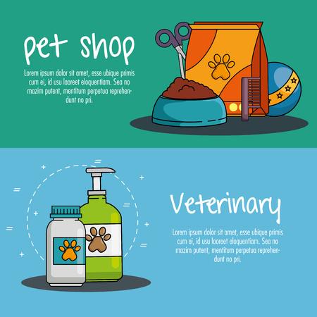 Een vector de illustratieontwerp van dierenwinkel vastgesteld pictogrammen Stockfoto - 93737069