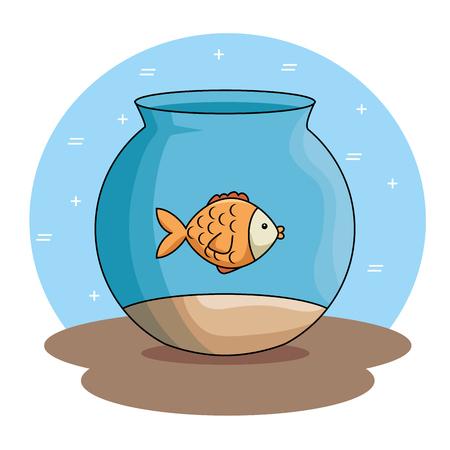 A pet fish in aquarium vector illustration design