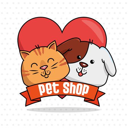 A group mascots pet shop vector illustration design Vettoriali