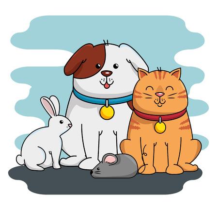 A group mascots pet shop vector illustration design Illustration