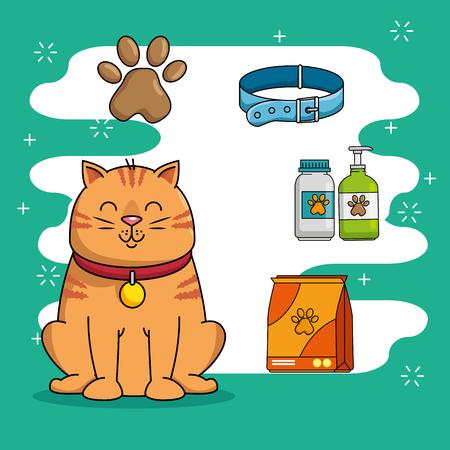 A pet shop set icons vector illustration design Иллюстрация