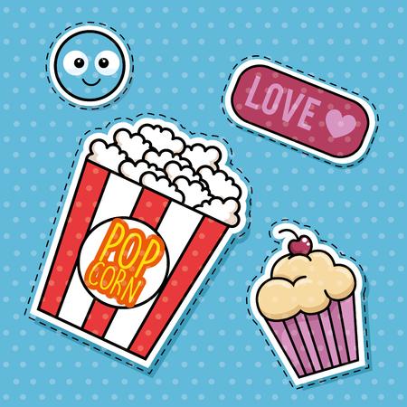 A sweet stickers pop art vector illustration design