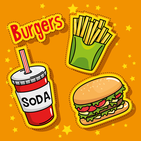 A fast food stickers pop art vector illustration design