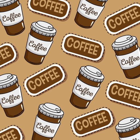 coffee shop stickers pop art vector illustration design