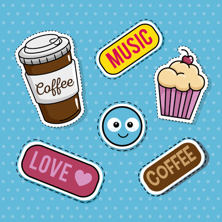 sweet stickers pop art vector illustration design