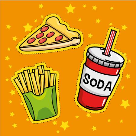 fast food stickers pop art vector illustration design