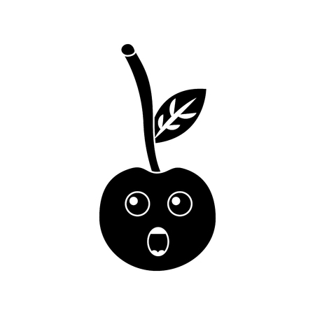A cherry yelling talking fruit kawaii icon image vector illustration design black and white