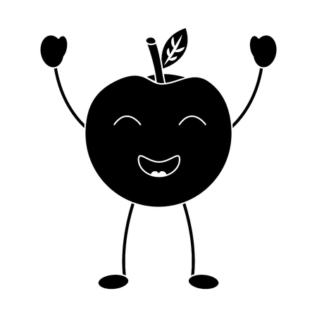 An apple happy fruit kawaii icon image vector illustration design black and white