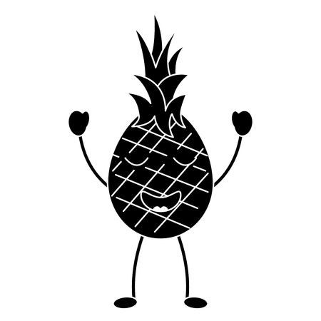 파인애플 행복의 행복 과일 kawaii 아이콘 이미지 벡터 일러스트 디자인 흑백